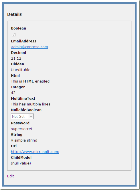 Brad Wilson: ASP NET MVC 2 Templates, Part 4: Custom Object